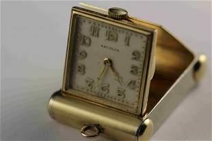 14k YG Kreisler Travel Clock