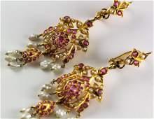 French Victorian 18k YG Ruby  Pearl Drop Earrings