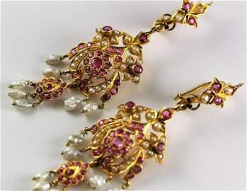 French Victorian 18k YG Ruby & Pearl Drop Earrings