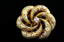 Victorian 14k YG Enamel  Diamond Set Brooch Pendant
