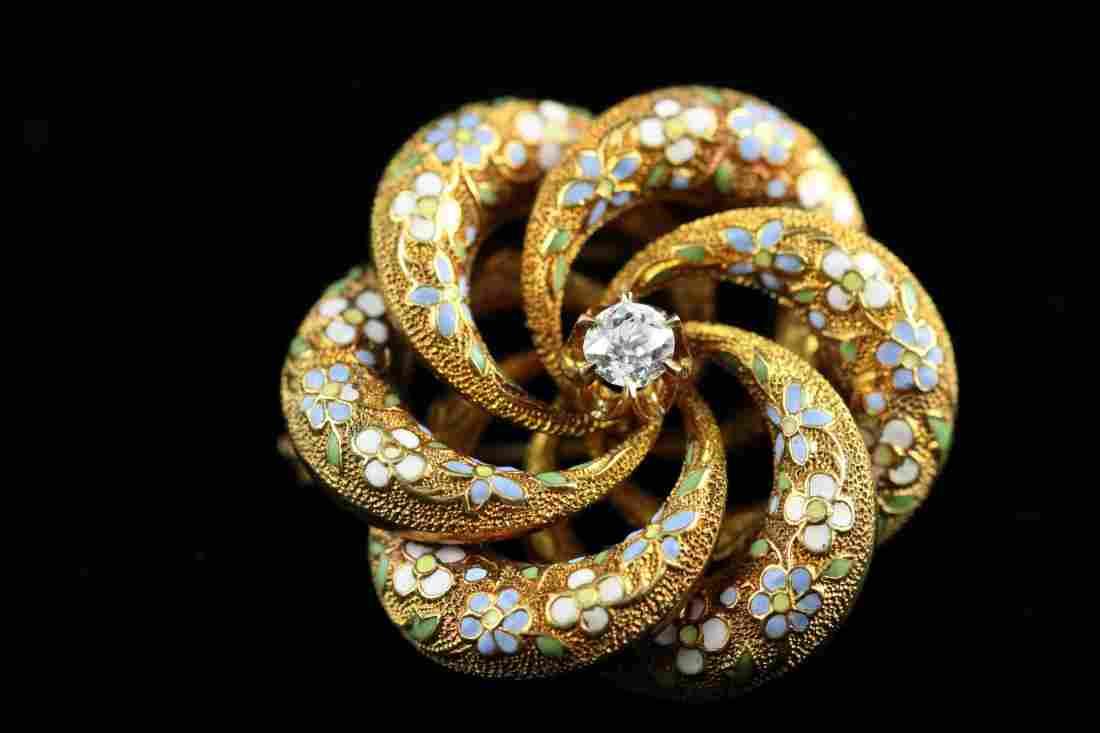 Victorian 14k YG Enamel & Diamond Set Brooch Pendant