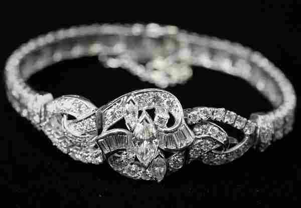 Platinum Diamond Set Bracelet Estimated Diamond Weight