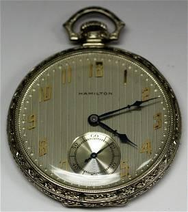 14k WG 19 Jewel Hamilton Pocket Watch