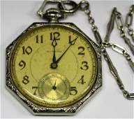 14k WG Howard Pocket Watch w/ Chain
