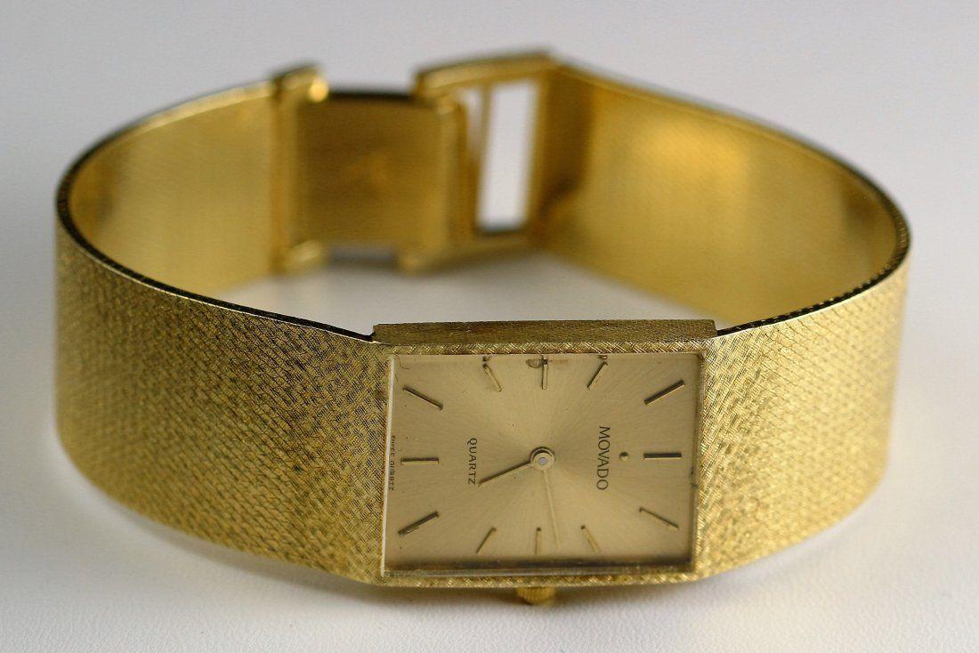 14k YG Movado Mens Wristwatch w/ Gold Band