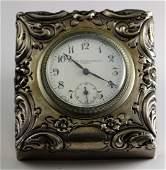 Black Starr & Frost Sterling Cased Travel Clock