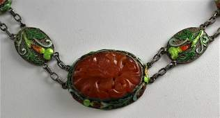 Chinese Enamel Silver Carved Carnelian Necklace