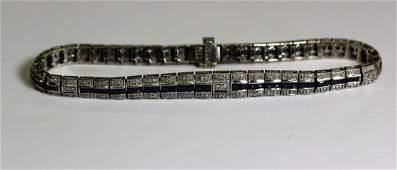 Art Deco 14k WG Diamond  Sapphire Bracelet