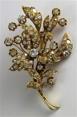 Victorian 18k YG & Diamond Floral Brooch