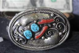 Native American Silver Turquoise  Coral Belt Buckle