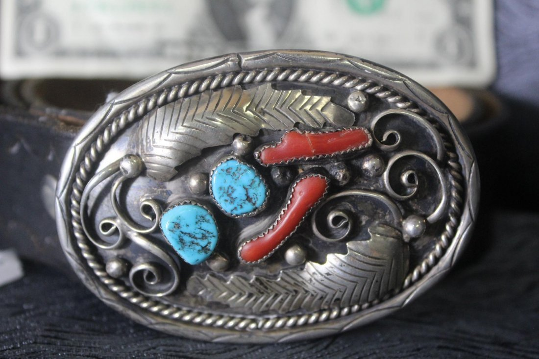Native American Silver Turquoise & Coral Belt Buckle