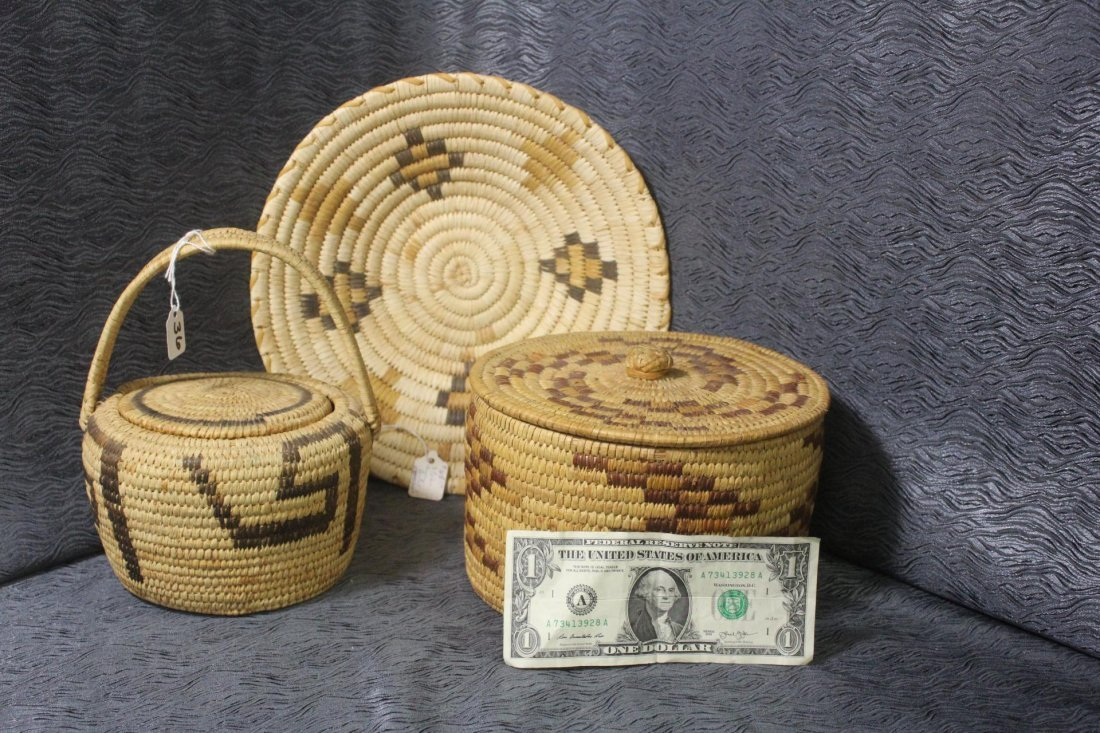 3 Native American Woven Baskets