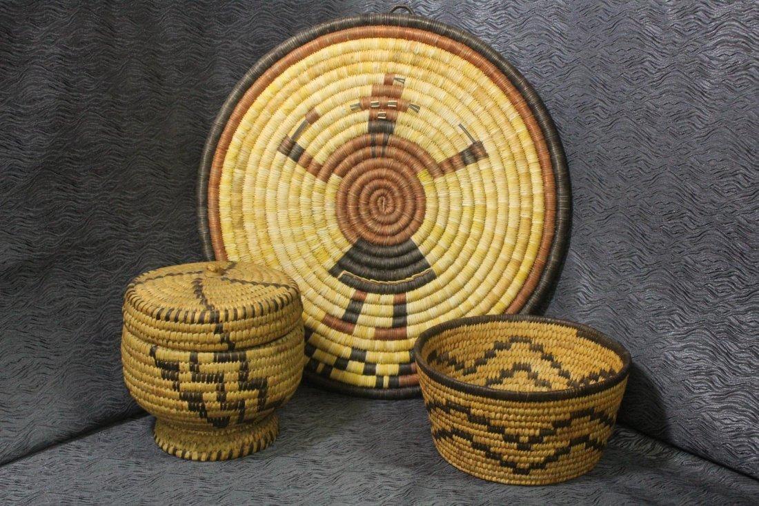 Native American Woven Baskets & Tray