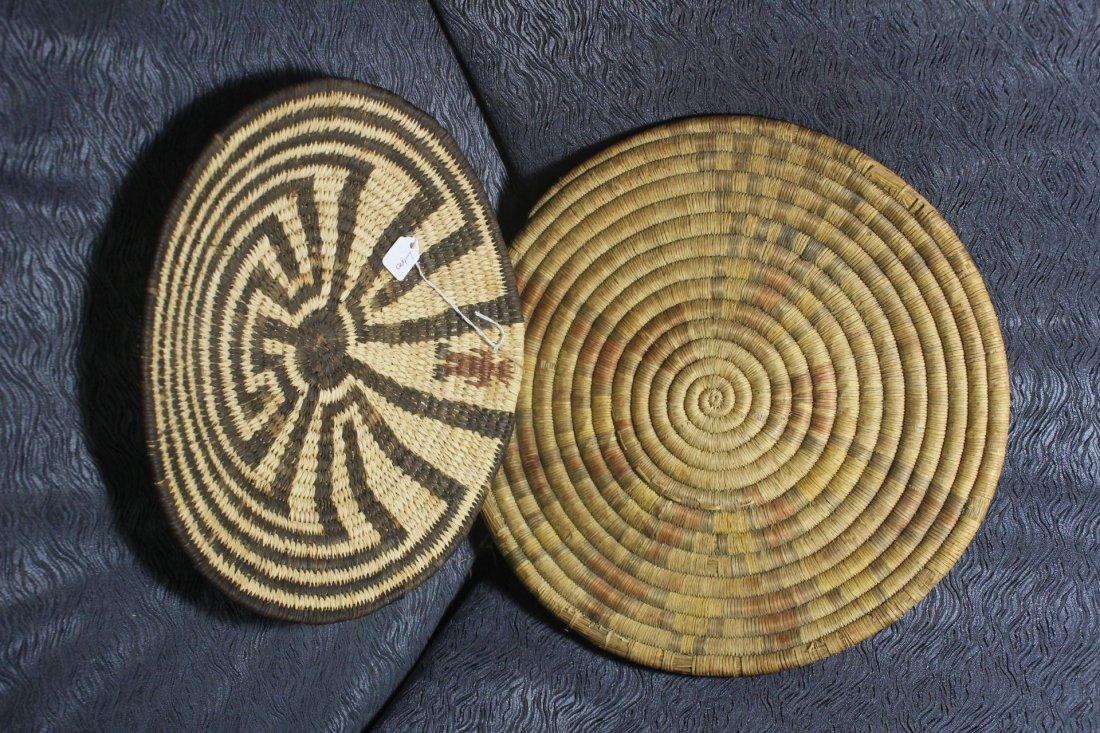 2 Native American Woven Basket Trays