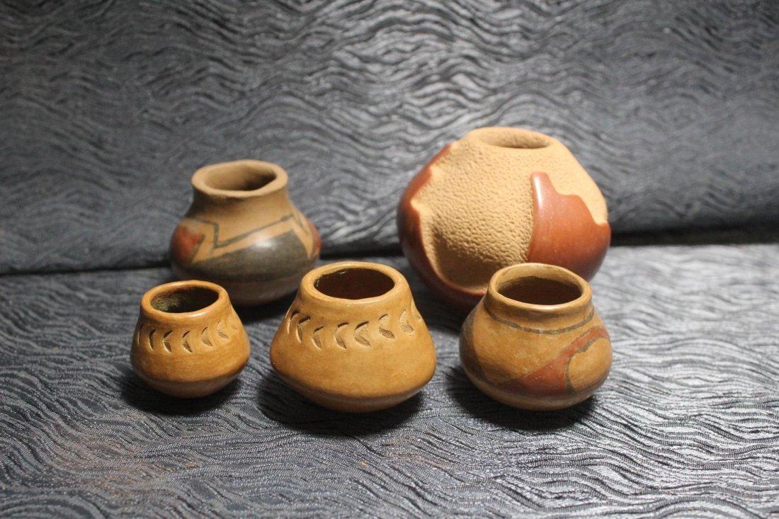 5 Miniature Native American Pottery Vessels