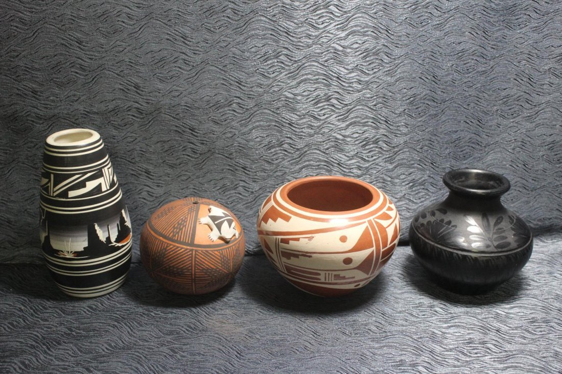 4 Native American Pottery Vessels