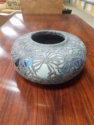 Japanese Studio Pottery W/ Metal Chrysanthemum Overlay