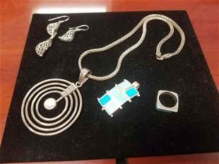 Piece Mid Century Modern Sterling Silver Jewelry Lot