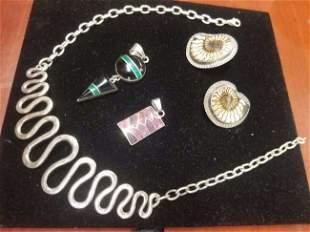 4 Piece Mid Century Modern Sterling Silver Jewelry Lot