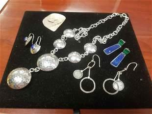 5 Piece Mid Century Modern Sterling Silver Jewelry Lot