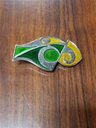 Signed Mid Century Modern Russian Enameled Silver Tie