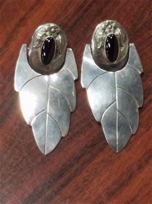 Signed Fred Davis Sterling Silver Earrings