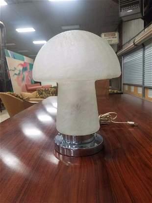 Mid Century Art Glass Crackle Glass Mushroom Lamp