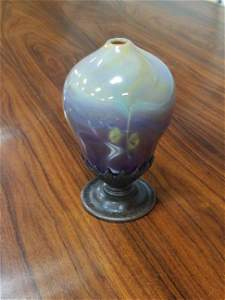 Tiffany Furnaces Agate Paperweight Vase In Bronze Mount