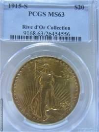 1915 - S $20.00 St. Gauden's Gold Coin