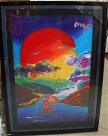 """Large Peter Max Original Acrylic on Poster """"Without"""
