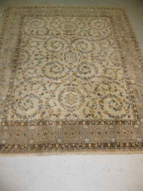 """Tan Floral 119"""" x 98"""" Rugmark Handcrafted Wool India"""