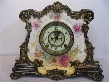 Ansonia La Drome Royal Bonn porcelain clock