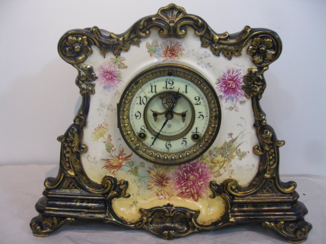 Ansonia La Drome Royal Bonn porcelain clock
