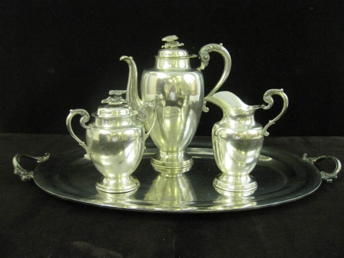 Jose Anton Taxco Sterling Silver Tea Set CA 1940 102 OZ