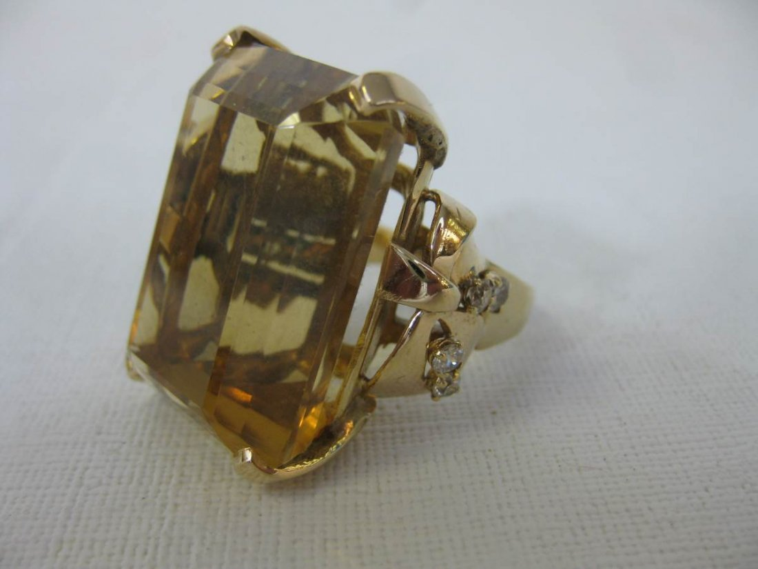 57.72 Carat Citrine Set in 14kt With Diamonds Ring
