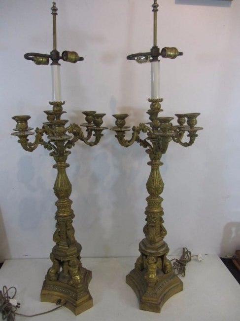 French Empire Massive Bronze Dore Candelabras