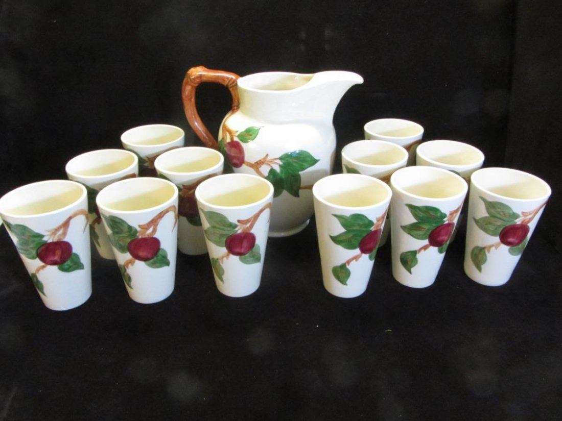"Rare Complete Franciscan Complete ""Apple"" Water Set"