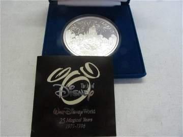 Rare 25 Magical Years 5 Troy OZ .999 Fine Silver Disney