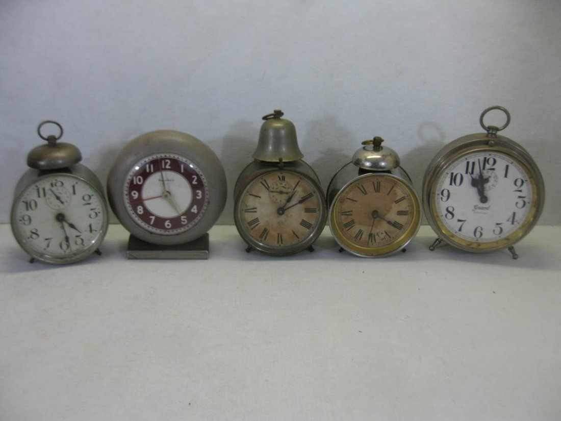 5 Antique Wind up Alarm Clocks