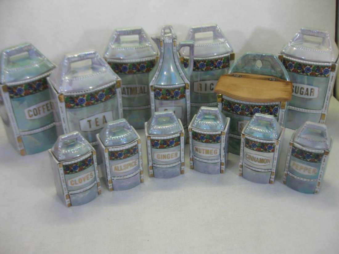 13 Piece German Lustreware Cannister Set