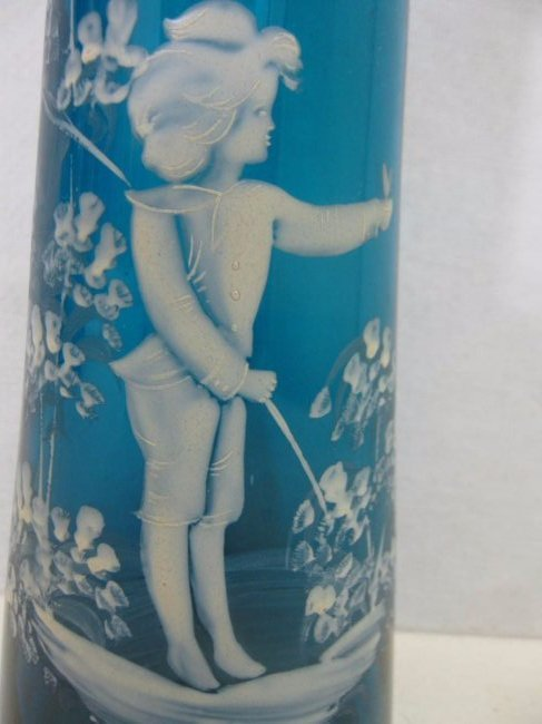 Rare Sandwich Glass Teal Mary Gregory Hyacinth Vase - 3
