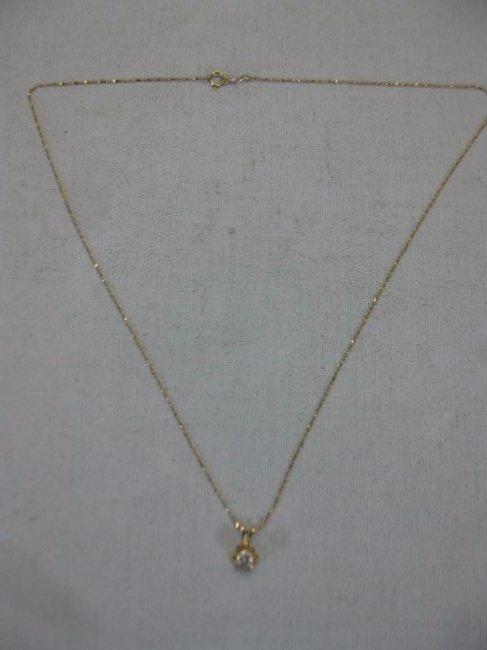 14 Kt Gold Necklace with .42 Carat Diamond Pendant