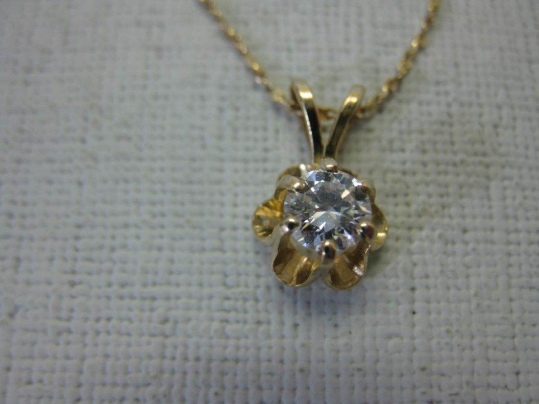 14 Kt Gold Necklace with .42 Carat Diamond Pendant - 2