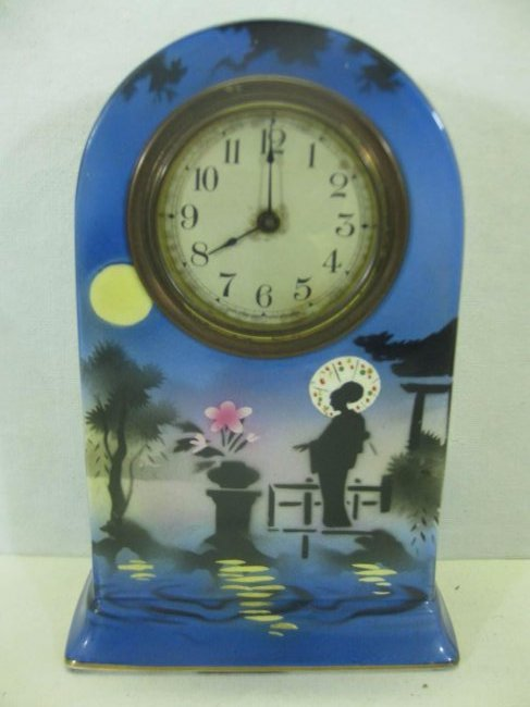 Unique Hand Painted Porcelain Silhouette Clock