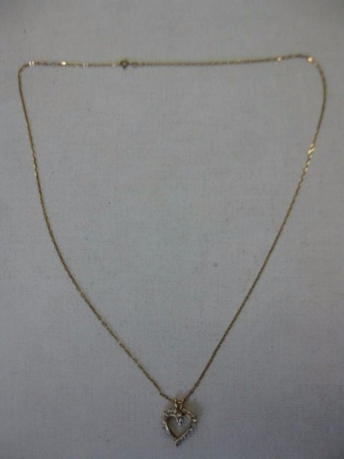 14 Kt Gold Diamond Heart Necklace