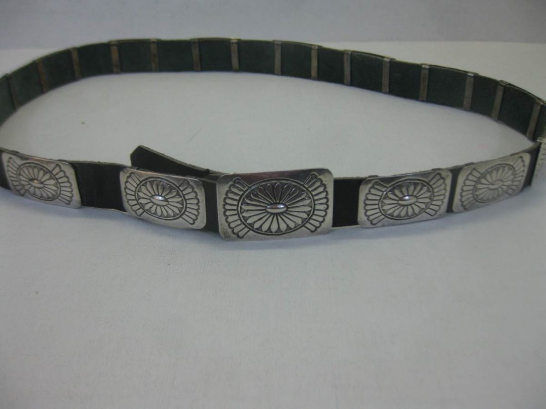 Vintage P. Yellowhorse Sterling Silver Concho Belt