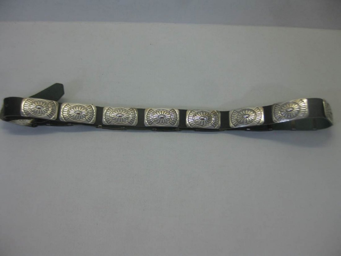 Vintage P. Yellowhorse Sterling Silver Concho Belt - 2