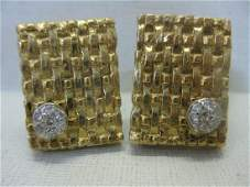 Vintage 14 Kt Gold and Diamond Cufflinks