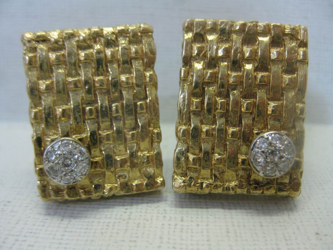 Vintage 14 Kt Gold and Diamond Cufflinks