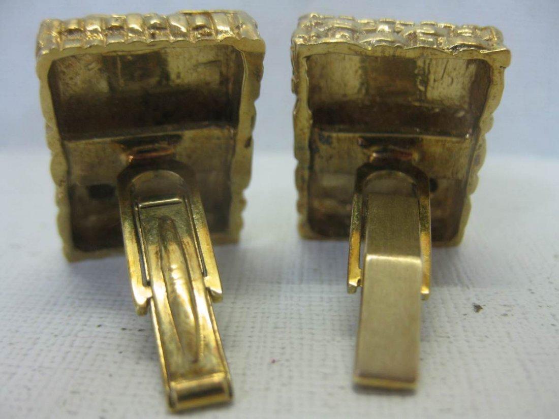Vintage 14 Kt Gold and Diamond Cufflinks - 2